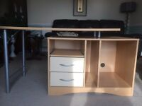 Office Desk Computer Desk Beech Wood & chrome 2 piece with storage drawers Home desk good condition
