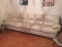 Real leather Sofa cream ivory five seater in good condition