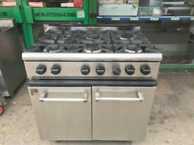 GAS 6 RING COOKER OVEN CATERING COMMERCIAL KITCHEN EQUIPMENT CAFE KEBAB CHICKEN RESTAURANT BBQ BAR