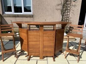 Wooden Outdoor Bar and 2 Folding Stools