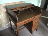 A Vintage Solid Medium Oak Roll Top Desk by Withy Grove of Leeds