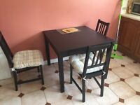 Black Extendable Table (to twice length) and 4 chairs (IKEA)