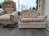 TWIN MOTOR electric riser recliner chair + two seater sofa DELIVER 10 MILES . armchair 2 settee rise