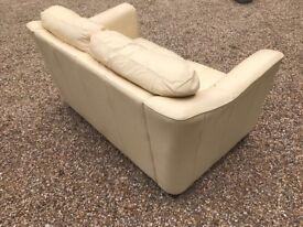 Cream Leather Sofa - 2 Seater - Good Condition
