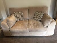 2 seater sofa in mink. Matching foot stool/storage also available on a separate ad (pic on here)