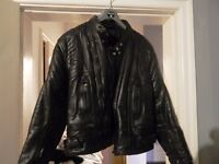 Vintage Unisex Leather Biker Jacket Size M/L