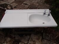 White ceramic vanity sink unit