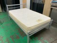 Mini double 3/4 bed frame solid metal and best matress with memory as well like new