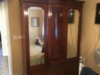 Triple Wardrobe - Mahogany with double mirror