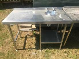Stainless steel tables one fitted with sink unit