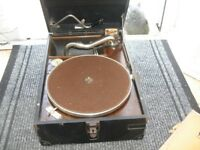 H.M.V ANTIQUE RECORD PLAYER + RECORDS