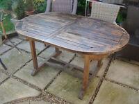 Large Teak Garden Extending Table