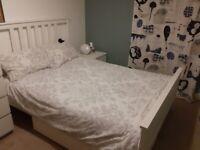 Ikea Hemnes bed frame + 2 under bed storage boxes + Hyllestad mattress