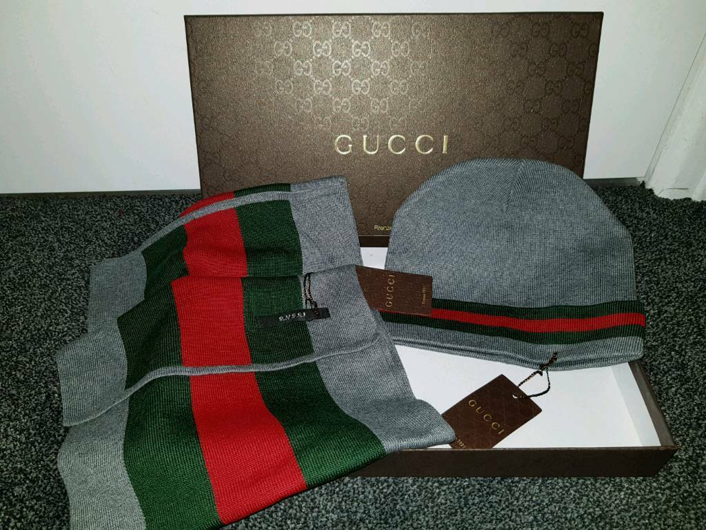 Grey Gucci hat and scarf set.  9aa41653f06