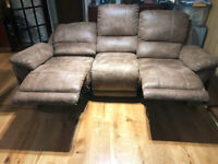 4 PIECE SUITE - 6 RECLINERS - GREY FAUX NUBUCK LEATHER SOFA - 2 x Armchair, 2 Seater, 3 Seater