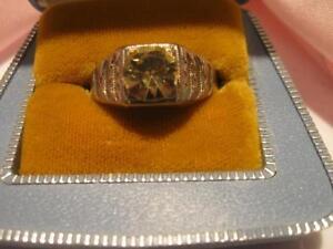 LARGE IMPRESSIVE VINTAGE MAN'S SILVERTONE FAUX-DIAMOND RING