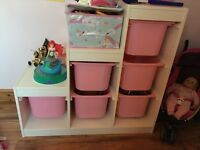 Ikea childrens storage pink and white