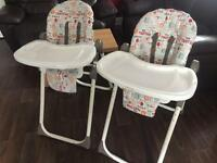 High chairs ( x 2) price is for each
