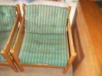 2 habitat beech wood armchairs
