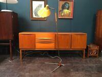Mid Century Floor Lamp. Yellow Shade. Teak & Brass Fittings. Retro Vintage 1960s