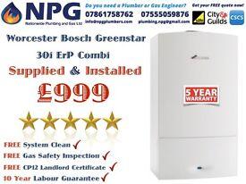 SUPPLIED & INSTALLED Worcester Bosch Greenstar 30i New ErP Combi £999 (£4KRRP) SUMMER SPECIAL OFFER