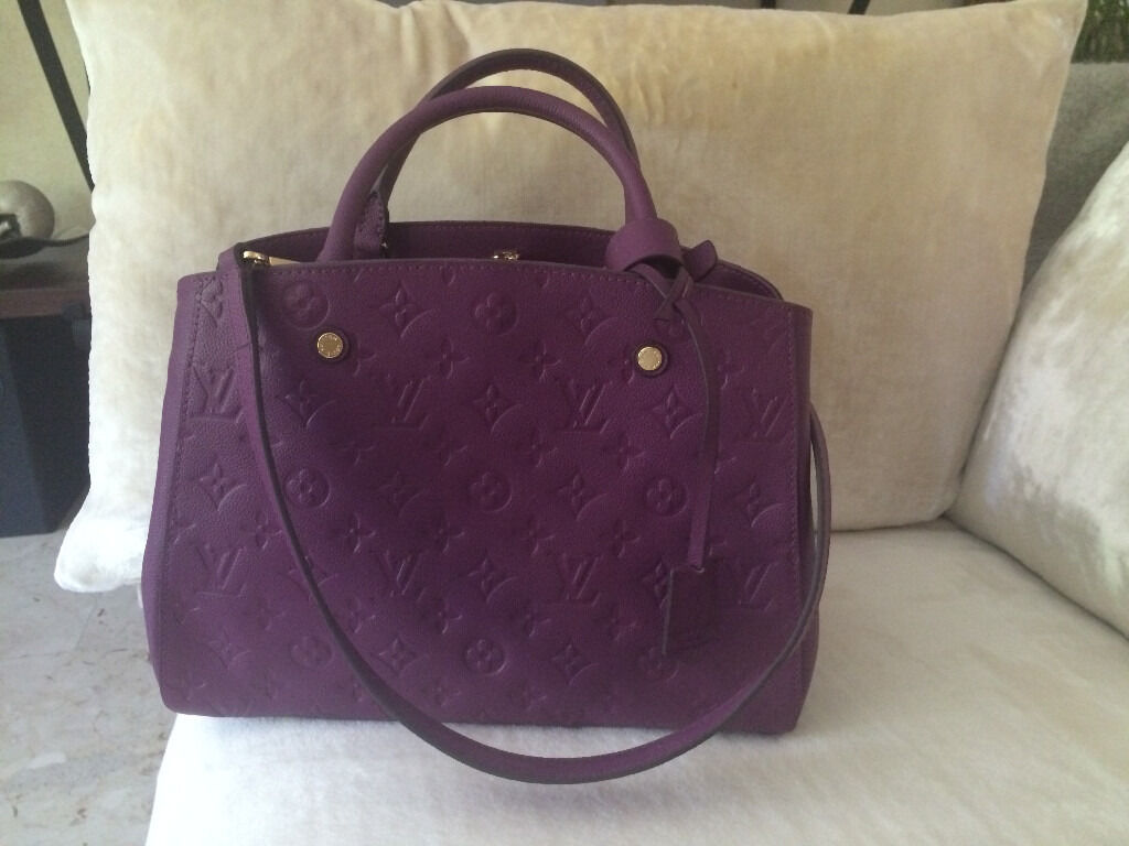 Louis Vuitton Leather Bag Empreinte Montaigne Tote Amethyst Purple
