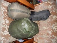 down filled 58 pattern sleeping bag and a summer weight and vaude fleece