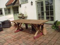 New Refectory Table for patio or garden. 6ft x 2ft6ins. Sturdy construction. Pressure treated timber