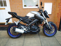 2016 YAMAHA MT 125 ABS SILVER *** ONE OWNER ***