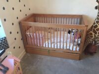 Marks & Spencer solid oak cot bed with mattress