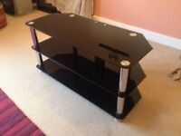 Black Gloss Glass TV Stand Unit Cabinet with Cable Management LED LCD Plasma