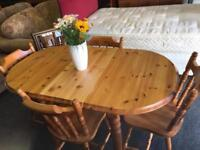 Solid pine dining table & 4 chairs can deliver