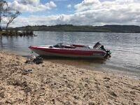 Smart looking speedboat Detaline bounty 17ft with trailer and Yamaha outboard 85, running sweet