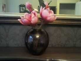 Glass Plum Decorative Vase with flower
