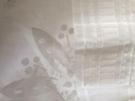 White Flower Pattern See-through Curtains