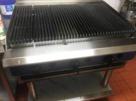 Commercial equipment, grill , fryer and fridge.