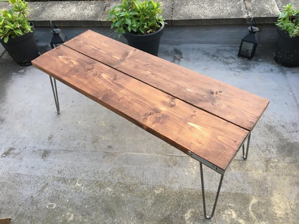 Vintage Rustic Bench Tv Stand Coffee Table Dimensions Bespoke Hairpin Legs