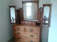 PRETTY SATIN WOOD DRESSING TABLE / CHEST