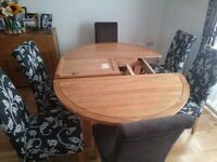 Knightsbridge Natural Solid Oak Extendable Dining table and 6 high back chairs