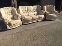 Savoy ivory leather suite