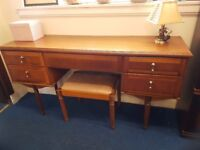 Yew wood 5 drawer dressing table and stool
