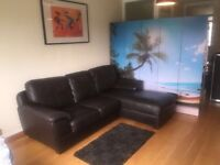 SOFA CORNER BLACK LEATHER * FREE DELIVERY *