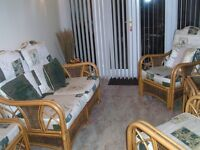 Lovely conservatory furniture, 2 chairs, couch, table and footstool
