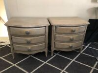 french style shabby chic wood bedside 3 draw cabinets distressed limed oak .porcelean knobs zara.