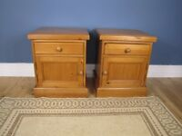 Pair of Solid Pine Bedside Cupboards Cabinets With Drawers Ducal Quality