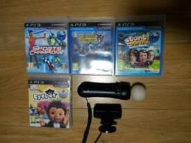 PS3 Playstation Move Controller + Eye CAMERA + 4 GAMES BUNDLE