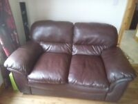 3+2+1 brown leather sofa couch with recliner