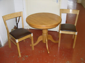 Solid Wood Circular Table & 2 Chairs