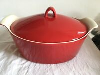Red ceramic Casserole Dish John Lewis Home Used Once Perfect Condition Pot Pan Cook Large