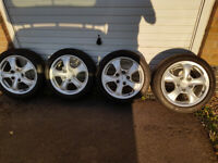 17' Porsche genuine alloy wheels 5x130 with 5x100 adapters spacers vw golf audi a3 seat